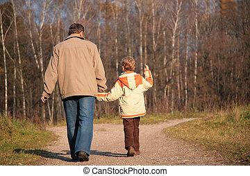 mantener, nieto, madera, aduelo, manos, caminata