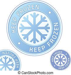 mantenha, congelado, foor, ou, etiqueta produto