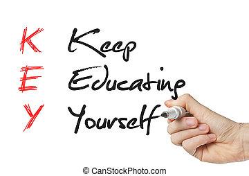 mantenha, educação, você mesmo