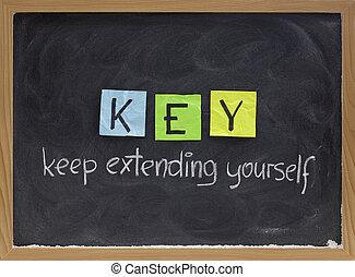 mantenha, estender, você mesmo, -, motivação, acrônimo