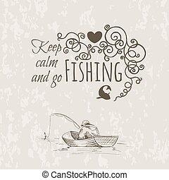 mantenha, pesca, esboço, pacata