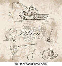 mantenha, pesca, esboço