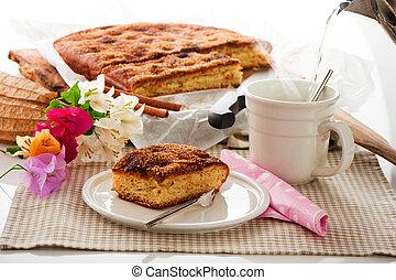 mantequilla, café, hoja, taza, azúcar, caliente, canela, pastel