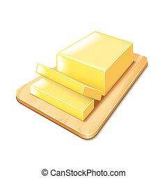 mantequilla, corte, vector, aislado, tabla