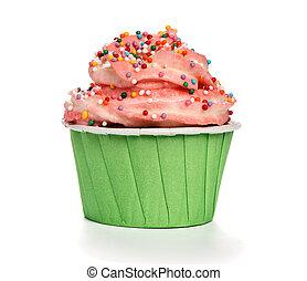 mantequilla, cumpleaños, crema, glaseado, cupcake