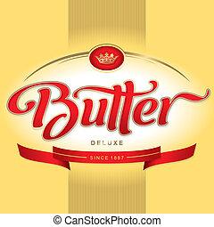 mantequilla, empaquetado, diseño, (vector)