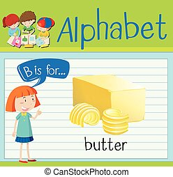 mantequilla, flashcard, b, carta