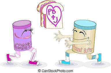 mantequilla, maní, emparedado, jalea
