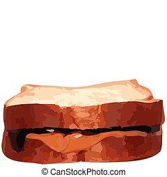 mantequilla, maní, jalea, ilustración, vector, sandwhich