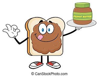 mantequilla, maní, rebanada, bread