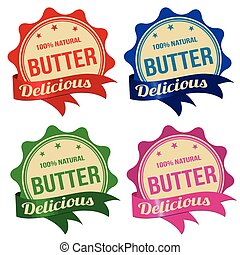 mantequilla, pegatina, etiqueta, o, sellos