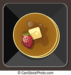 mantequilla, placa, jarabe, panqueque, fresa
