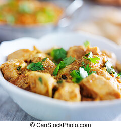 mantequilla, pollo, indio, curry
