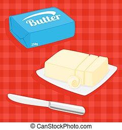 mantequilla, vector, ilustración