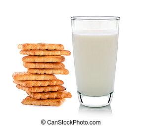 mantequilla, vidrio, plano de fondo, blanco, galletas, leche