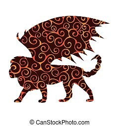 Manticore pattern silhouette mythology symbol fantasy.