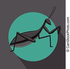 Mantid Cartoon Insect