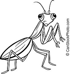 mantis insect cartoon coloring page - Black and White...