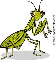 mantis insect cartoon illustration