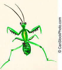 mantis painted on cream colored paper - training drawing in...