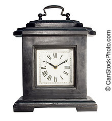 mantle clock isolated - black wooden vintage mantle clock...