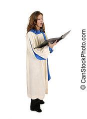 manto, mulher, cantando, 4, igreja