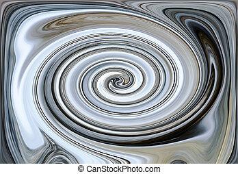 Mantra in blue in a spiral