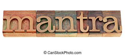 mantra, mot, n, letterpress, type