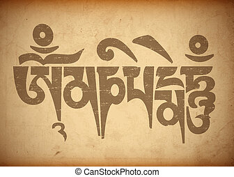 "Mantra ""Om Mani Padme Hum"" on old paper.Vector illustration"