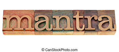 mantra word n letterpress type