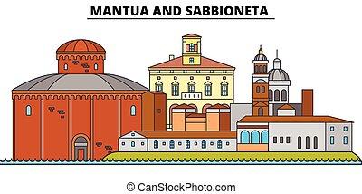 Mantua And Sabbioneta line travel landmark, skyline, vector...