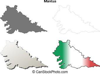 Mantua blank detailed outline map set - Mantua province...