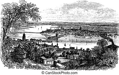 Mantua in Lombardy Italy vintage engraving