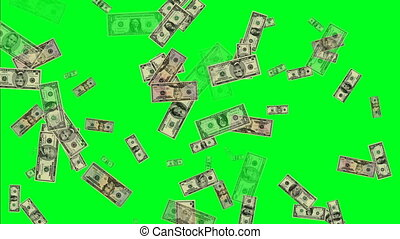 Manu US dollar banknotes on green screen