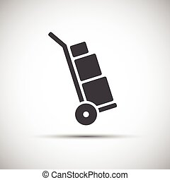 Manual cart icon, simple hand truck with boxes, vector illustration