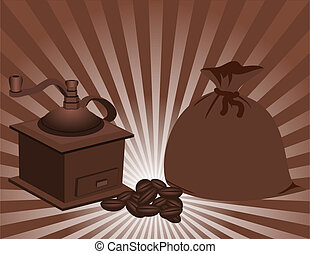 Manual coffee grinder and a bag of