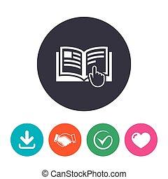manual de instrucción, símbolo., señal, libro, icon.