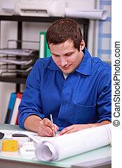manual, escrivaninha, trabalhador, sentando