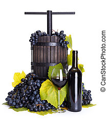 Manual grape pressing utensil with red wine - Traditional...