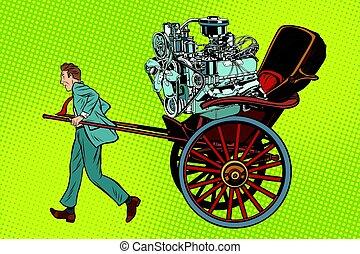 Manual labor vs mechanical, rickshaw carries motor