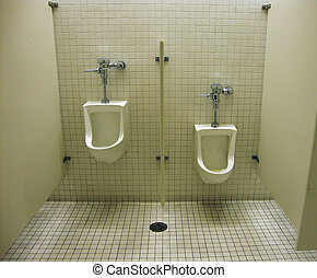 Manual Male urinals in a modern bathroom found in a musuem