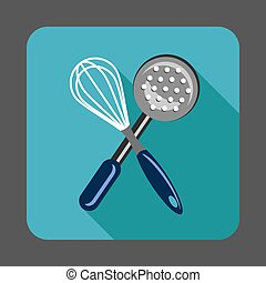 Manual mixer tool kitchen concept background, cartoon style