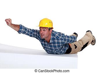manual, pose, trabalhador, super-homem