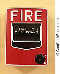 Manual pull station on wall for fire alarm system