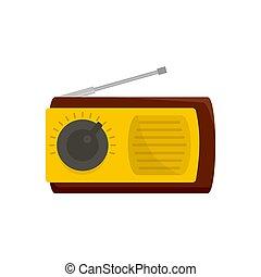 Manual radio receiver icon, flat style