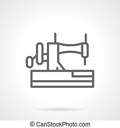 Manual sewing machine black line vector icon