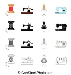 Manual sewing machine, thread reel, dummy on the stand, electric machine. Atelier and sewing set collection icons in cartoon black monochrome outline style vector symbol stock illustration isometric web.
