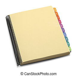 Manual - Blank Spiral Bound Manual With Color Tabs Isolated...
