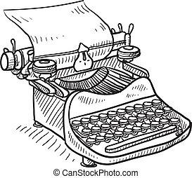 manual, vendimia, bosquejo, máquina de escribir