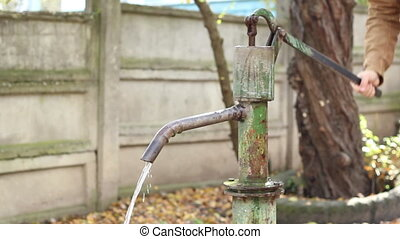 Person using a mechanical pump for suction fresh water. Hand pumps are manually operated pumps; they use human power and mechanical advantage to move fluids or air from one place to another. They are widely used in every country in the world for a variety of industrial, marine, irrigation and ...
